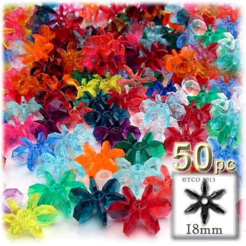 Starflake bead, SnowFlake, Cartwheel, Transparent, 18mm, 50-pc, Multi Mix
