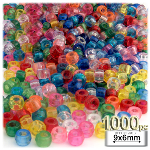 Pony Beads, Transparent, 9x6mm, 1,000-pc, Multi Mix