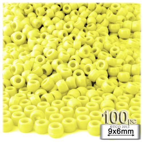 Pony Beads, Opaque, 6x9mm, 100-pc, Yellow