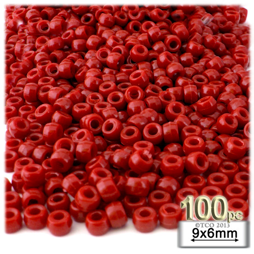 Pony Beads, Opaque, 6x9mm, 100-pc, Red