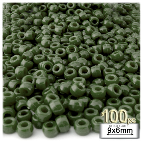 Pony Beads, Opaque, 6x9mm, 100-pc, Army Green