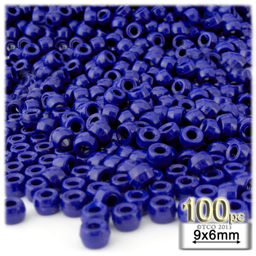 Pony Beads, Opaque, 6x9mm, 100-pc, Royal Blue