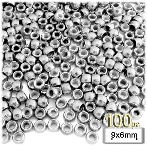 Pony Beads, Metallic Coated, 6x9mm, 100-pc, Silver