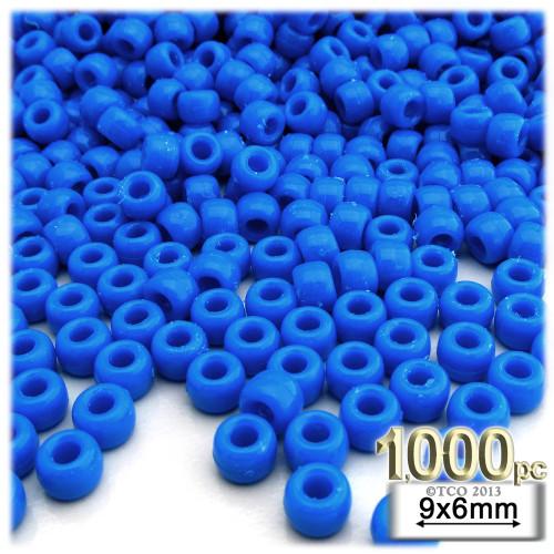Pony Beads, Opaque, Neon, 6x9mm, 1,000-pc, Bright Ocean Blue Neon