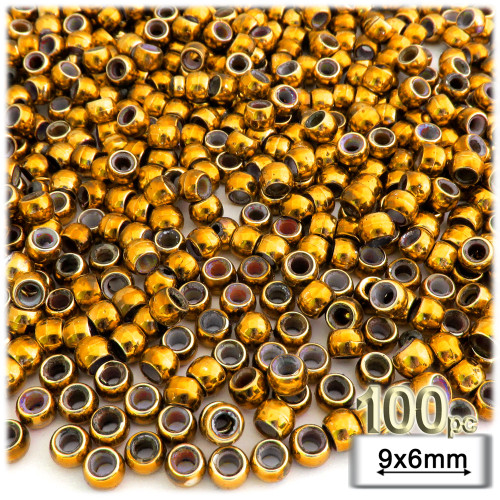 Pony Beads, Metallic Coated, 6x9mm, 100-pc, Gold