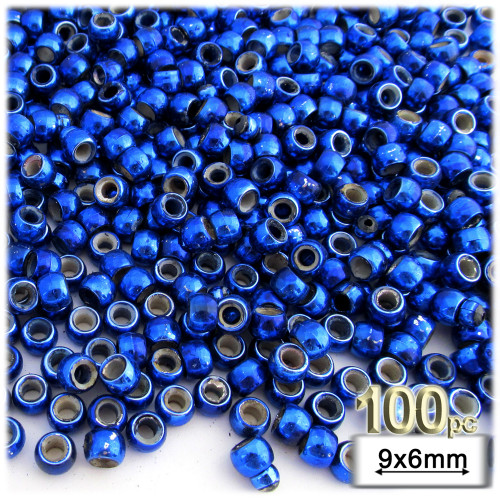 Pony Beads, Metallic Coated, 6x9mm, 100-pc, Christmas Blue