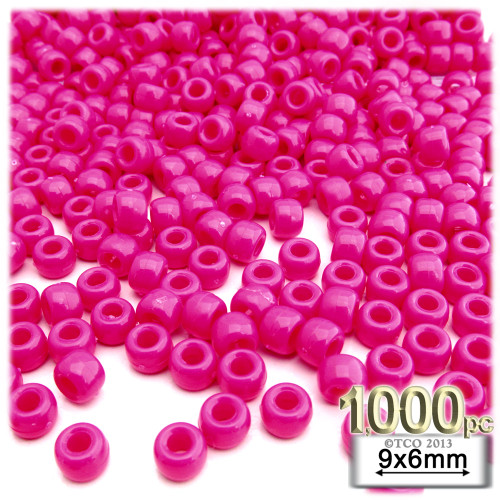 Pony Beads, Opaque, Neon, 6x9mm, 1,000-pc, Bright Hot Pink Neon