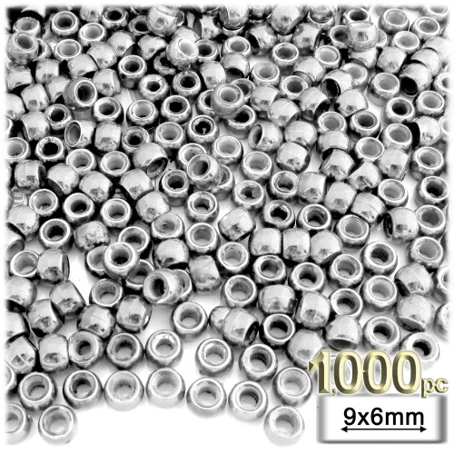 Pony Beads, Metallic Coated, 6x9mm, 1,000-pc, Silver