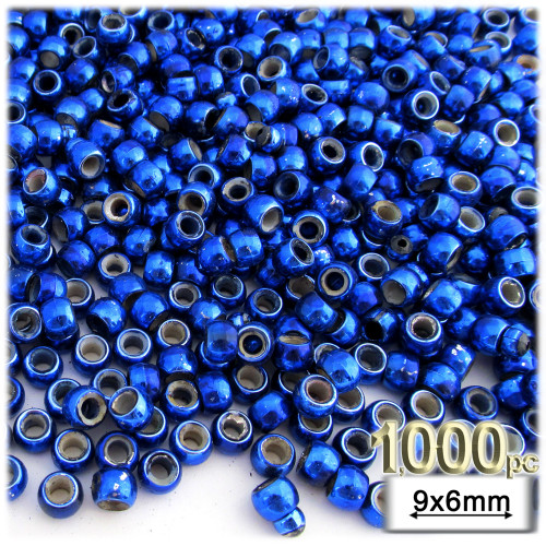 Pony Beads, Metallic Coated, 6x9mm, 1,000-pc, Christmas Blue