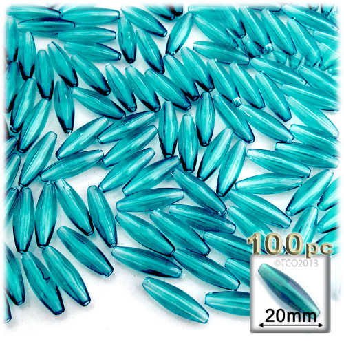 Plastic Speghetti Beads, Transparent, 19x6mm, 100-pc, Light Aqua