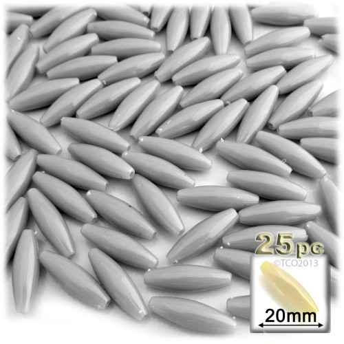 Plastic Speghetti Beads, Opaque, 19x6mm, 25-pc, Gray
