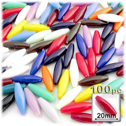 Plastic Speghetti Beads, Opaque, 19x6mm, 100-pc, Multi Mix
