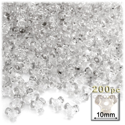 Plastic Tri-Bead, Transparent, 11mm, 200-pc, Clear