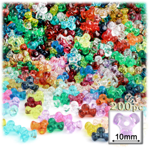 Plastic Tri-Bead, Transparent, 11mm, 200-pc, Multi Mix