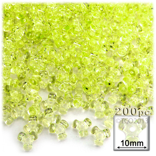 Plastic Tri-Bead, Transparent, 11mm, 200-pc, Yellow