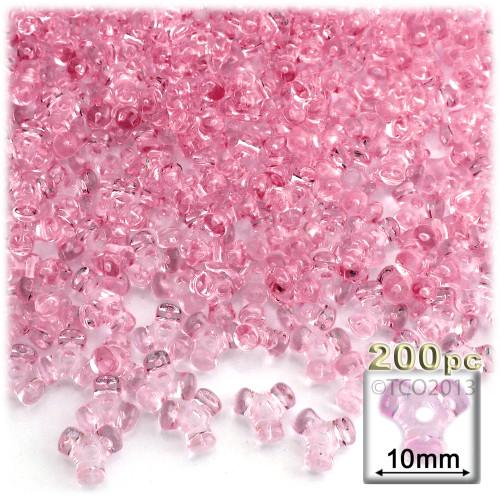 Plastic Tri-Bead, Transparent, 11mm, 200-pc, Pink