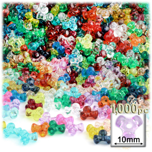 Plastic Tri-Bead, Transparent, 11mm, 1,000-pc, Multi Mix