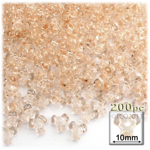 Plastic Tri-Bead, Transparent, 11mm, 200-pc, Champagne