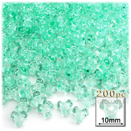 Plastic Tri-Bead, Transparent, 11mm, 200-pc, Sea Mist