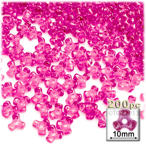 Plastic Tri-Bead, Transparent, 11mm, 200-pc, Hot Pink