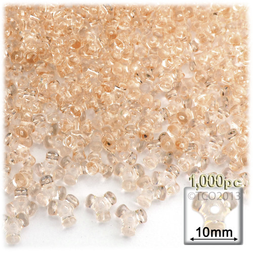 Plastic Tri-Bead, Transparent, 11mm, 1,000-pc, Champagne