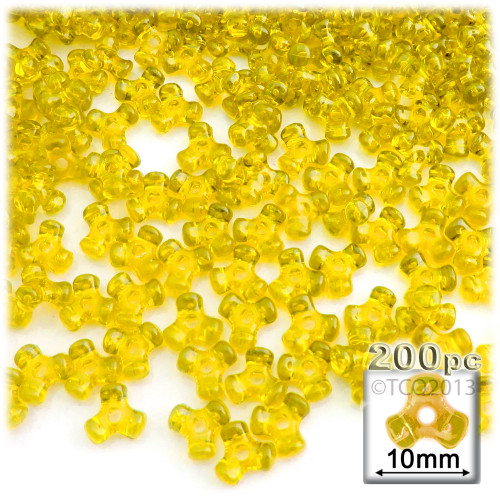 Plastic Tri-Bead, Transparent, 11mm, 200-pc, Acid Yellow