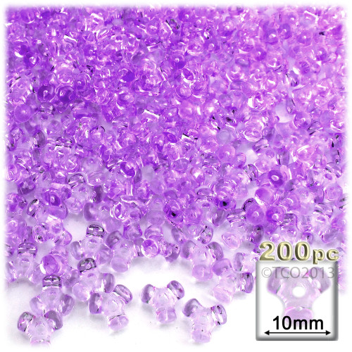 Plastic Tri-Bead, Transparent, 11mm, 200-pc, Lavender Purple