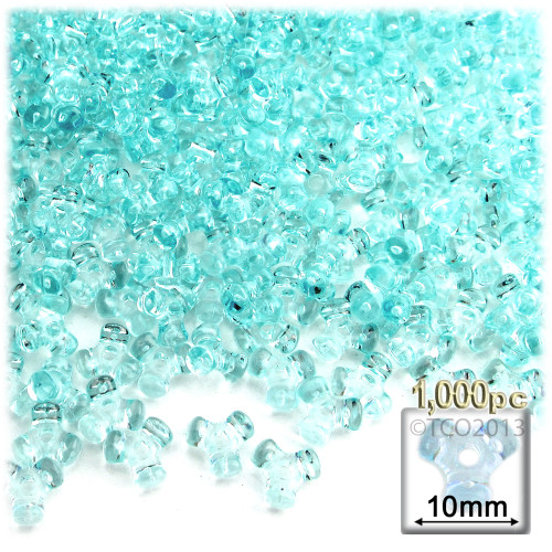 Plastic Tri-Bead, Transparent, 11mm, 1,000-pc, Light Aqua