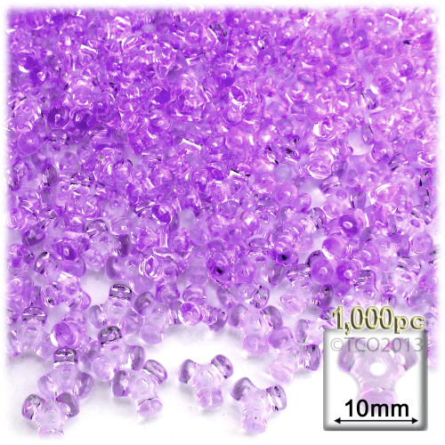 Plastic Tri-Bead, Transparent, 11mm, 1,000-pc, Lavender Purple