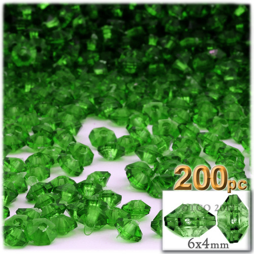 Plastic Rondelle Beads, Transparent, 6mm, 200-pc, Emerald green