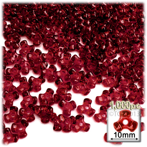 Plastic Tri-Bead, Transparent, 11mm, 1,000-pc, Raspberry Red