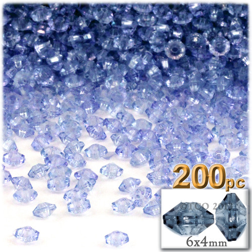 Plastic Rondelle Beads, Transparent, 6mm, 200-pc, Light Blue