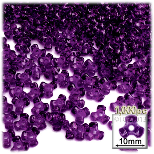 Plastic Tri-Bead, Transparent, 11mm, 1,000-pc, Dark Purple