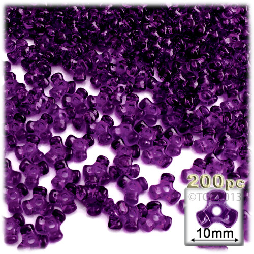 Plastic Tri-Bead, Transparent, 11mm, 200-pc, Dark Purple