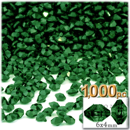 Plastic Rondelle Beads, Opaque, 6mm, 1,000-pc, Emerald Green