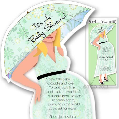 One Baby Shower invitations Mod Mom Flower Pattern in Light Green