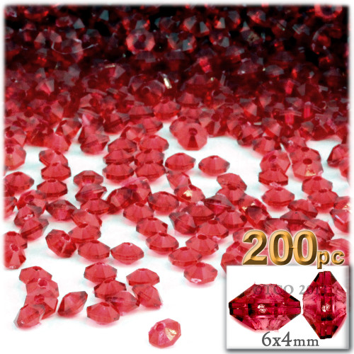 Plastic Rondelle Beads, Transparent, 6mm, 200-pc, Christmas Red