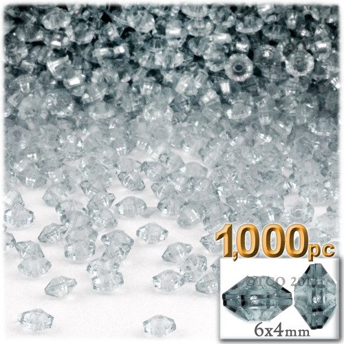 Plastic Rondelle Beads, Transparent, 6mm, 1,000-pc, Clear