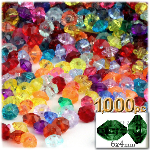 Plastic Rondelle Beads, Transparent, 6mm, 1,000-pc, Multi Mix