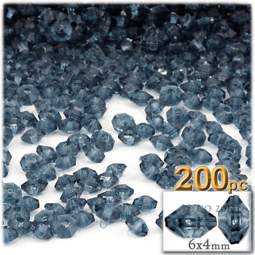 Plastic Rondelle Beads, Transparent, 6mm, 200-pc, Blue Jeans