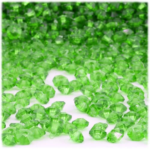 Plastic Rondelle Beads, Transparent, 6mm, 200-pc, Light Green