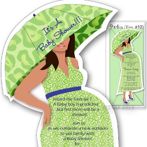 One Baby Shower invitations Mod Mom Lepoard Pattern in Light Green