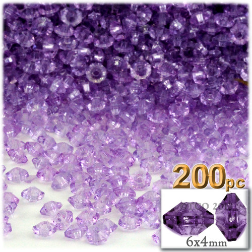Plastic Rondelle Beads, Transparent, 6mm, 200-pc, Lavender Purple