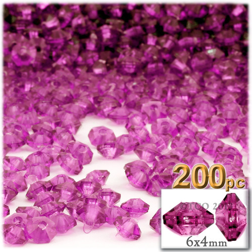 Plastic Rondelle Beads, Transparent, 6mm, 200-pc, Hot Pink