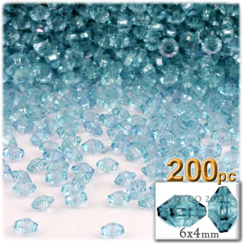 Plastic Rondelle Beads, Transparent, 6mm, 200-pc, Light Aqua