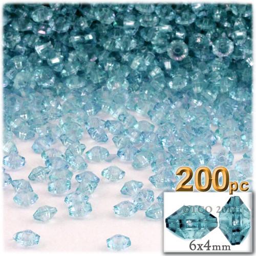 Plastic Rondelle Beads, Transparent, 6mm, 200-pc, Light Aqua