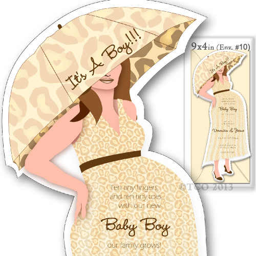 One Baby Shower invitations Mod Mom Lepoard Pattern in Cream (One Cream MAILING envelopes included)