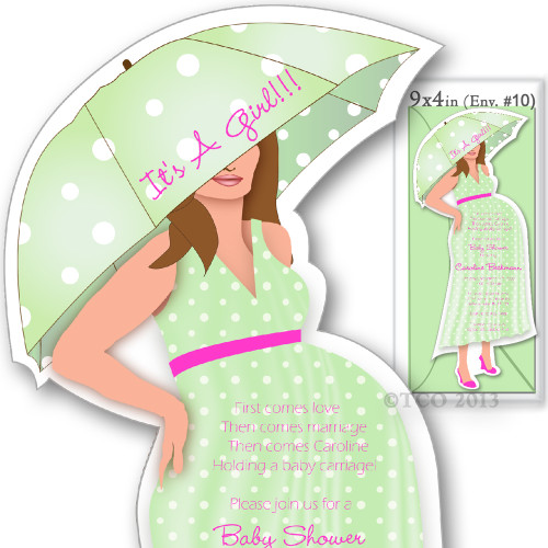 One Baby Shower invitations Mod Mom Poke-A- Dot Pattern in Light Green