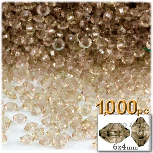 Plastic Rondelle Beads, Transparent, 6mm, 1,000-pc, Champagne