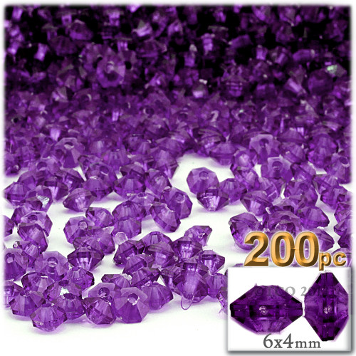 Plastic Rondelle Beads, Transparent, 6mm, 200-pc, Dark Purple